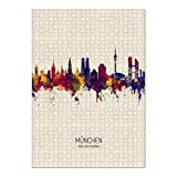 artboxONE Ravensburger-Puzzle XL (1000 Teile) Städte / München Munich Germany Skyline Beige