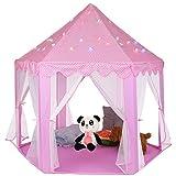 Princess Castle Play Tent Casa rosada con luces de estrellas, gran casa de juegos para interiores/exteriores, juego de carpa hexagonal para niñas, juguetes para niños pequeños, regalo de cumpleaños