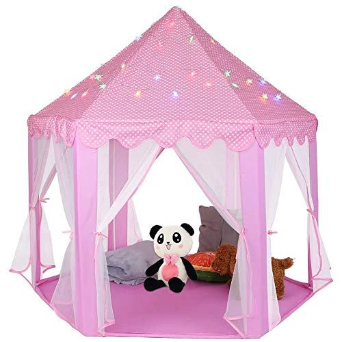 AYNEFY Kids Play House Castle Tent, Child Play Tent Princess Castle Play Tent Girls Pink Play Tent Toy for Indoor Outdoor Game, 55 x 53 x 55Inch