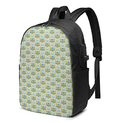 Laptop Backpack with USB Port Swirls Leaf Timeless Motifs, Business Travel Bag, College School Computer Rucksack Bag for Men Women 17 Inch Laptop Notebook