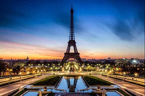 Rompecabezas 1000 Piezas Torre Eiffel de noche en París Niños Adultos Puzzle Jugando Al Poker DIY Arte De La Pared Juego Intelectual 75 * 50CM
