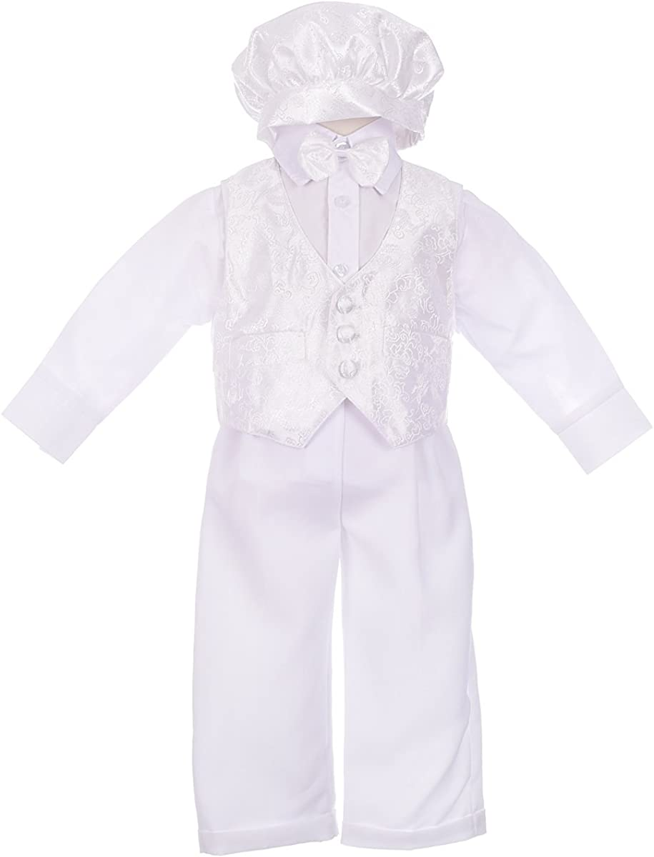 Lito Angels Baby Boys Christening Baptism Outfit Suit with Vast Cap 5-Piece Set