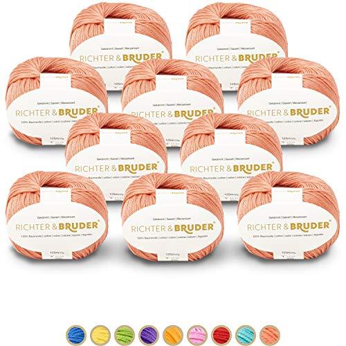 Richter & Bruder - Hilo de algodón para punto y ganchillo (10 unidades)