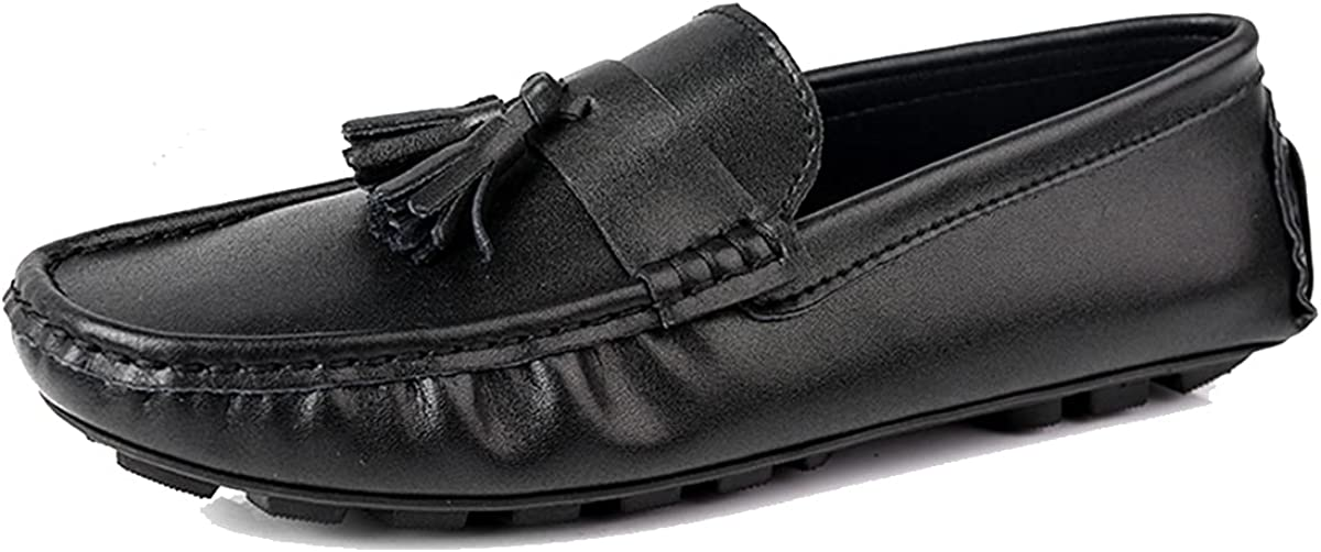 SYH003 Men's Fashion Loafers Lightweight Soft Non-Slip Long Distance Driving Shoes Black Size 6-11