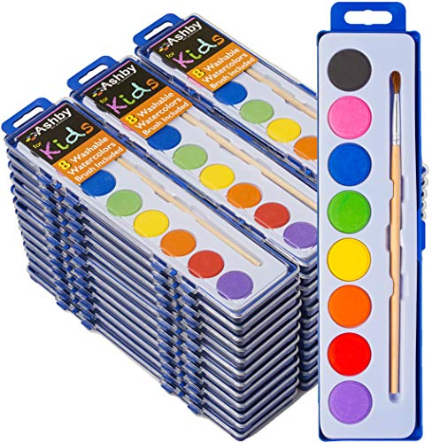 36 Pack - Ashby for Kids - Watercolor Paint Set and Quality Wooden Brush - Extra Deep Paint Trays = 10X More Paint - 8 Vibrant Watercolors on Each Tray