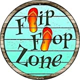 Metal tin sign roundTrigger Zone Pool Tropical...