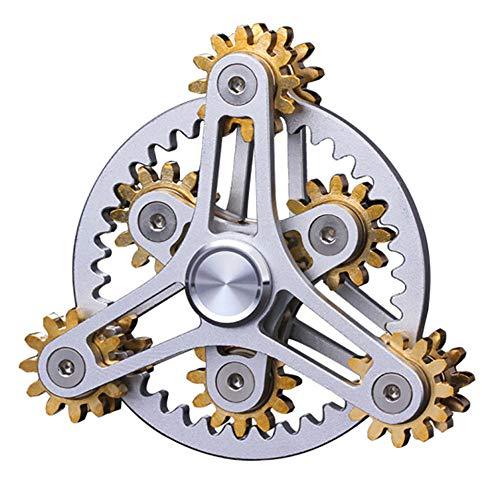 Khosd Fidget Spinner Toy para Niños Y Adultos Alivio del Estrés Yema del Dedo Gyro 6 Gear Metal Spinning Tops Bearing EDC Spinners De Dedo Alivio del Giroscopio ADHD Ansiedad Autismo (Plata)