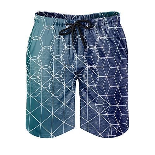 COMBON Shop Pantalones cortos de verano para hombre con patrones geométricos ultra suaves – pantalones cortos para deportes de playa