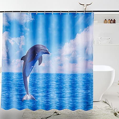 VIVILINEN Duschvorhänge aus Polyester Wasserabweisend Shower Curtain Anti-Schimmel Duschvorhang Anti-Bakteriell mit 12 Duschvorhangringen 180*180cm