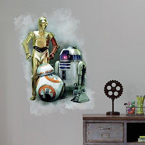 Star Wars Décor Géant Adhésif Repositionnable Star Wars the Force Awakens Ep Vii R2D2, C3Po, Bb-8