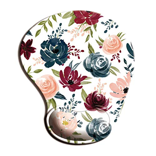 Dooke Ergonomic Mouse Pad with Wrist Support, Cute Mouse Pads with Non-Slip Rubber Base for Home Office Working Studying Easy Typing & Pain Relief Art Flowers