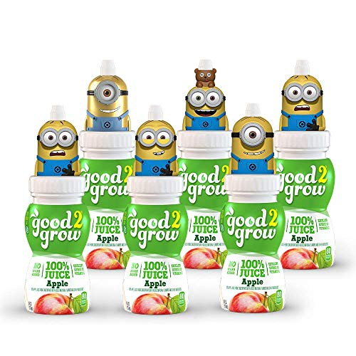 good2grow Minions Collector Pack 100% Apple Juice, 6-pack of 6-Ounce Spill-proof Character Top Bottles, Non-GMO with No Sugar Added and...