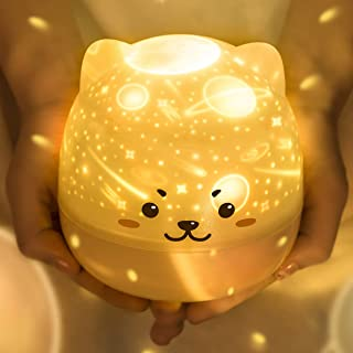 Night Lights for Kids, Premium Rechargeable Baby Night Light and Mini Galaxy Projector for Bedroom, Bedside Lamp with Colo...