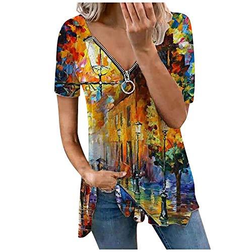 YANFANG 2021 Camisetas Manga Corta Mujer,Blusa Sin Mangas con Cuello En V De Cremallera Estampada Moda Casual para Mujer,Nikis Hombre,Casual Tallas Grandes Camiseta Blusas Tops