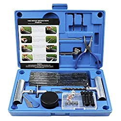 Tubeless Tyre Repair Kit : This professional heavy duty kit easily repairs all types of tubeless tires on Motorcycles, ATVs, UTVs, Tractors, Lawnmowers, Trucks, Jeeps, SUVs, Cars, Haulers, Trailers and more. Not for use on tube tires or side wall blo...