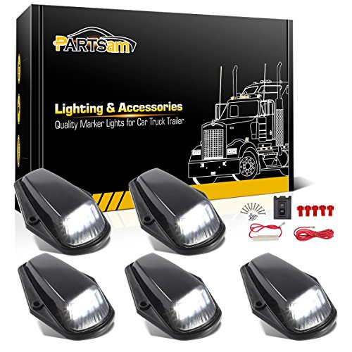 Partsam 5X Cab Marker Light LED Top Roof Running Light Black Lens White 12LED Lights w/Wire Compatible with Ford F150 F250 F350 1973-1997 F Series Super Duty Pickup Trucks