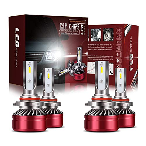 TURBO SII 9005/HB3 High Beam 9006/HB4 Low Beam LED Headlight Bulbs Combo Conversion Kits DOT Approved D6 Series CSP Chips, 6000K Cool White (4Pack,2 sets)