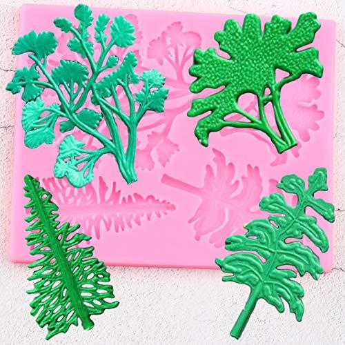 QMGLBG Baumkuchen Grenze Silikonform Blätter Weihnachtskuchen Dekorieren Fondantform DIY Kuchen Backen Candy Clay Schokoladen Gumpaste Form
