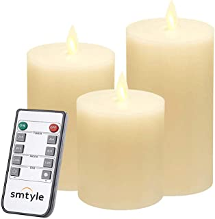 smtyle Christmas Flameless Candles for Fireplace Candelabra or Desk Decor Flickering Led Light with Moving Flame Wick Bright Pillar Candle with Remote Control Timer Battery Operated Ivory Flat Top 3