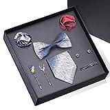 HOOLNB Moda Uomo Cravatta Fiore All'occhiello La Cravatta di Seta Foulard Fazzoletto Gemelli Set per Il Matrimonio Formale di Feste Set