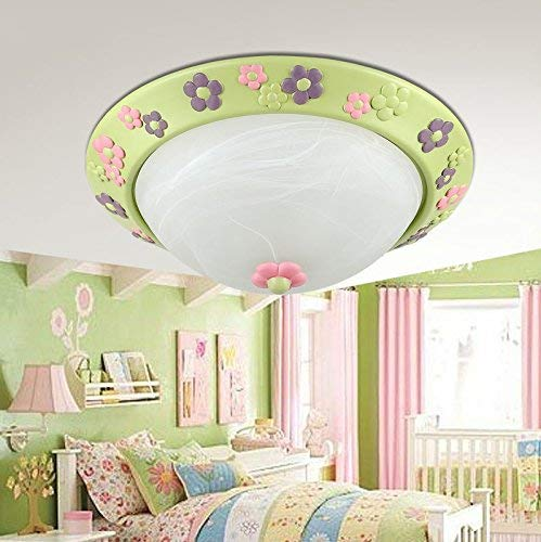 Bloemen slaapkamer kroonluchter, Europese tuin kinderkamer verwarming (40 40 40 13 cm) (grootte: Toon Light)
