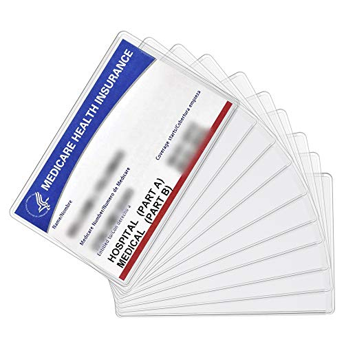 New Medicare Card Holder Protector Sleeves, 10 Pack Clear PVC Soft Waterproof Medicare Card Protector for New Medicare Card Credit Card Business Card, 12Mil Heavy Duty Card Sleeves