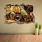 Pegatinas de pared - 3D - Vintage Antiguo Brújula Binoculares Mapa Del Mundo Etiqueta De La Pared Mural Decoración De La Etiqueta Ck40 - arte Mural cartel decoración - 70x110CM