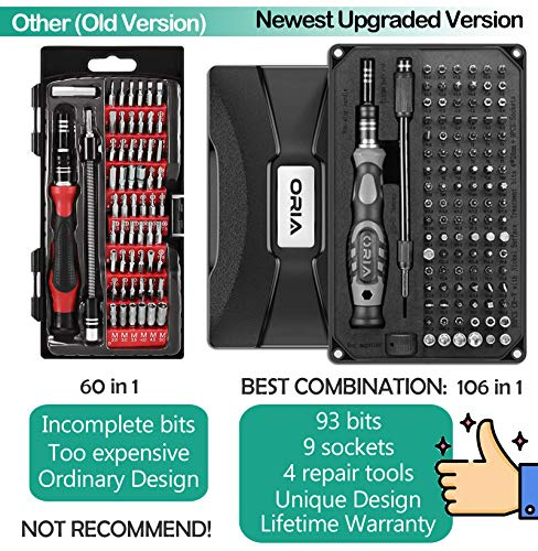 ORIA Precision Screwdriver Set (Upgraded Version) 106 in 1 with 102 Bits Magnetic Torx Screwdriver kit with Case Professional Repair Tool with Magnetizer for Electronics PC iPhone iPad Watch Jewelers