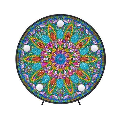 Jinclonder Mandala Diamant Schilderset met LED-nachtlampje, DIY handgemaakt kunstwerk 5D volboren kristal tekening kit bedlampje kunsthandwerk voor huishoudtextiel of geschenken