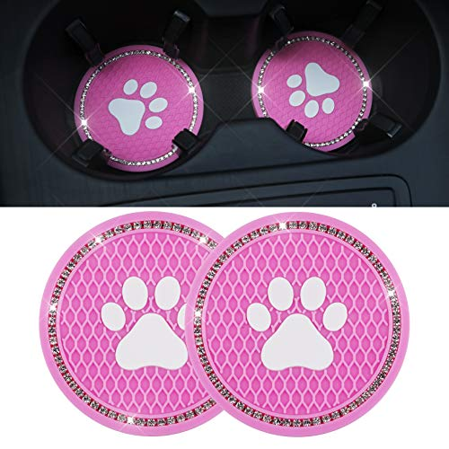 Car Cup Holder Coasters 275 inchCup Holder Coasters Bling Crystal Rhinestone Car Interior Accessories Durable Silicone Car Coasters for Auto Decor Girls Women Gift
