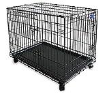 Simply Maison L | Hundekäfig | Transportbox | Drahtkäfig mit 2 Türen, schraubbaren Rollen und Tragegriff | ( 91,5cm x 58cm x 68,5cm )