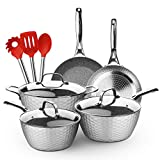 LovoIn 11-Piece Non-Stick Hammered Cookware Set, Marble Ceramic Nonstick Pot & Pan Set Induction,...