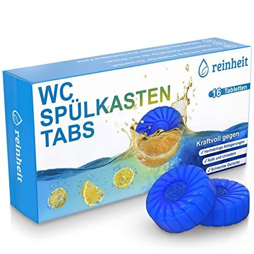 WC Spülkasten Tabs von reinheit - 16 Wasserkastenwürfel zur Reinigung von Spülkasten & Toilettenschüssel - 4 Wochen frisch-blaues Spülwasser & angenehm fruchtiger Zitronenduft