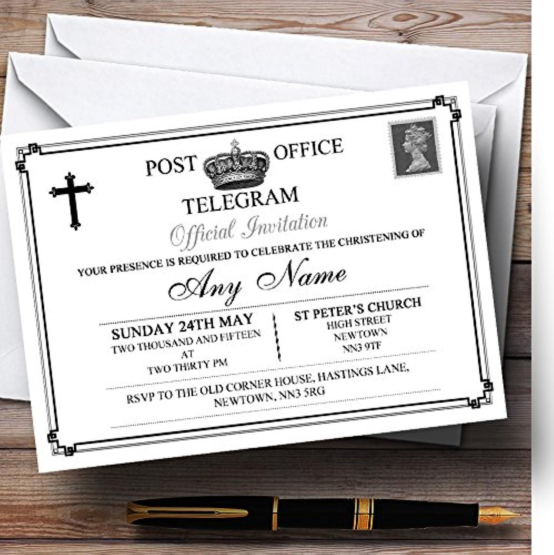 Vintage Telegram Elegant White Christening Party Personalised Invitations   Invites & Envelopes