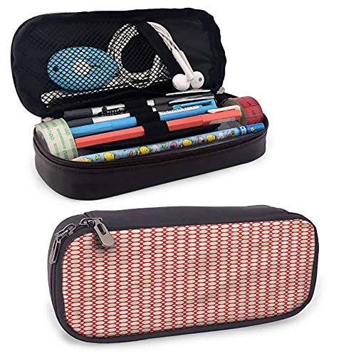 Retro Pencil Holder Leather Stationary Case Pouch, Big Small Polka Dots for Pen, Pencil, Samsung, Huawei, Pen Accessories, USB Cable, Earphone, Fountain Pen 8'x3.5'x1.5'