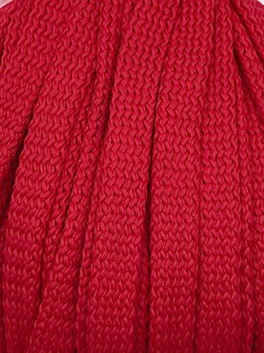 Slantastoffe 5m Kordel Polyester 8mm flach Schnur Turnbeutel Seil 9 Farben (Rot)
