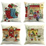 4er Set Weihnachten Kissenbezug Dekokissen Haus Dekoration Quadrat Sofa Kissen Bettwäsche Platz...