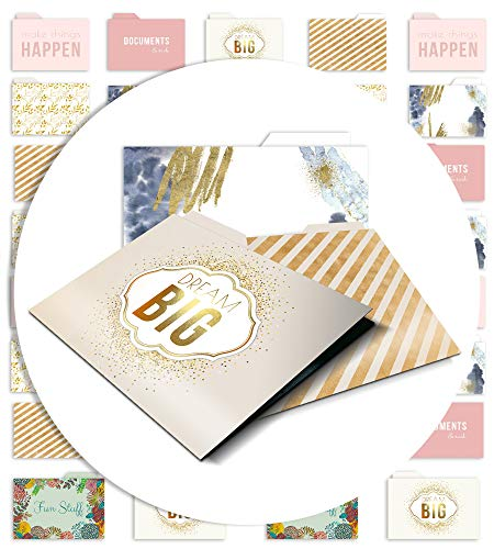 """File Folder Set - 14 Colored (Gold Foil, Pink & More) 9.5"""" x 11.5"""" Letter Size Decorative Folders w/Inside Pockets - Pack has 2 of Each of The Cute & Pretty Designs - Filing Organizer Office Supplies"""