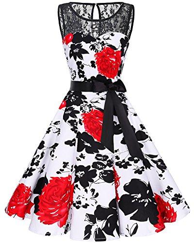 bbonlinedress 1950er Ärmellos Vintage Retro Spitzenkleid Rundhals Abendkleid Red Flower L