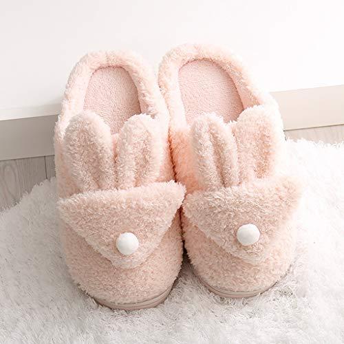 UXZDX Zapatillas De Algodón para El Hogar De Invierno, Zapatos De Piel Cálidos para Mujer, Suela Suave, Cómodas, Bonitas Y Encantadoras, Toboganes para Interiores (Color : Pink, Size : 38-39)