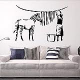 Banksy Wandtattoo Zebra Stripe Wash Wandtattoo Straße Graffiti Abnehmbare Vinyltapete Malerei 62X42Cm Wandaufkleber