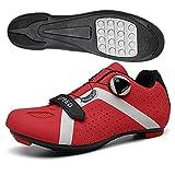 AMXSML Chaussures de Cyclisme VTT pour Hommes et Femmes,Chaussures de Vélo de Route Filature Professionnelle sans Serrure,Chaussures de Sport de Vélo de Plein Air,Rouge,43EU