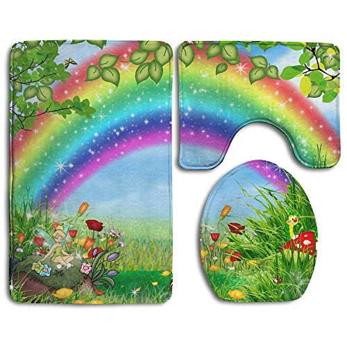 GGdjst 3 Piezas Juego de Alfombra de Baño, Beautiful Nature Rainbow Home Set of 3 Soft Bath Rug Non-Slip Bathroom Shower Mat
