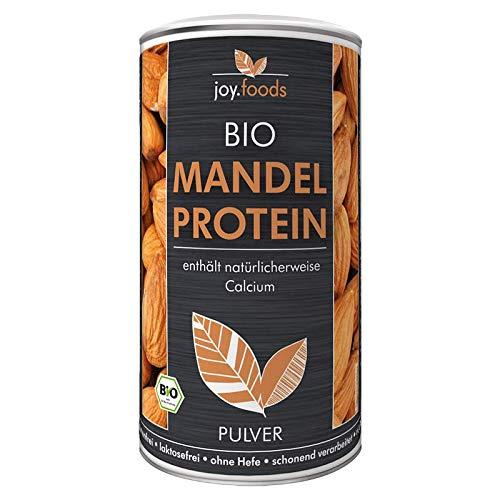 joy.foods Bio Mandelprotein Pulver, rein pflanzliche Proteinquelle, 50% Eiweiß,glutenfrei, laborgeprüfte Qualität, 200 g