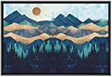 SIGNFORD Framed Canvas Home Artwork Decoration Abstract Mountain Nordic Style Scenery Canvas Wall Art for Living Room, Bedroom - 24x36 inches