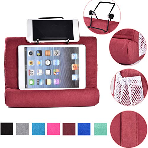 Strety Tablet Stand Cushion Holder, Mini Tablet Computer Holder, Original Tablet Cushion, Multi-Angle Soft Pillow for Tablets, E-Readers, Smartphones, Books, Magazines wine red