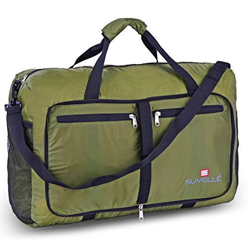 """Suvelle 21 """", misura media, capacità-Borsone pieghevole da viaggio per acqua, in Nylon resistente, durevole, leggero, comprimibile per bagagli, trasporto, sport, palestra, scuola e molto altro Cachi carry-on"""