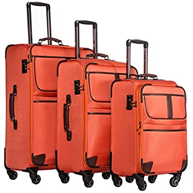 Coolife Luggage Expandable 3 Piece Set Suitcase with TSA lock pinner softshell (orange)
