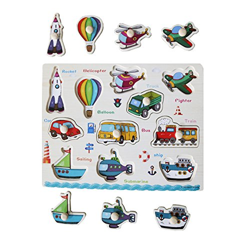 Home Learning Preschool Early Educational Development Colorful Vehicles Tools Wooden Peg Puzzle Bundle Shape Toys and Games for Age 3-7 Years Old Child Children Kids Toddlers Baby Boys Girls