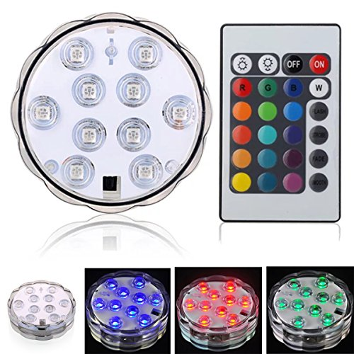 Lampe de plongée à 10 LED, avec télécommande à infrarouge 10 LED, pour décoration de Noël, fête à domicile, sol de piscine, etc.